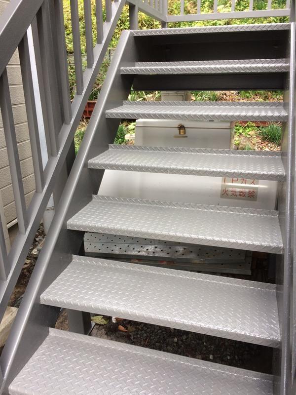 東京都福生市 屋外階段・廊下の鉄骨塗装